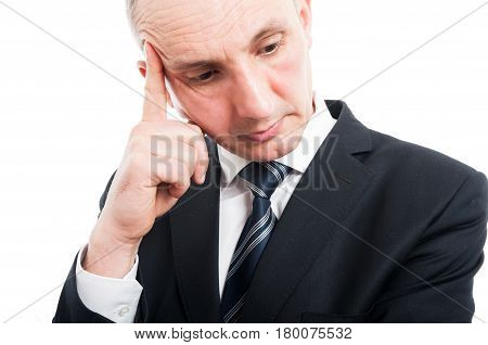 Close-up Of Elegant Man Standing Making Thinking Gesture