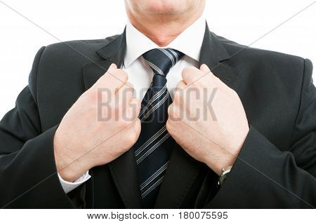 Close-up Of Aged Elegant Man Arranging His Jacket