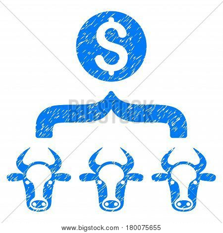 Grunge Cattle Result Money rubber seal stamp watermark. Icon symbol with grunge design and unclean texture. Unclean vector blue emblem.