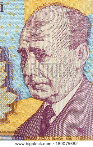 Lucian Blaga portrait from Romanian money - Lei