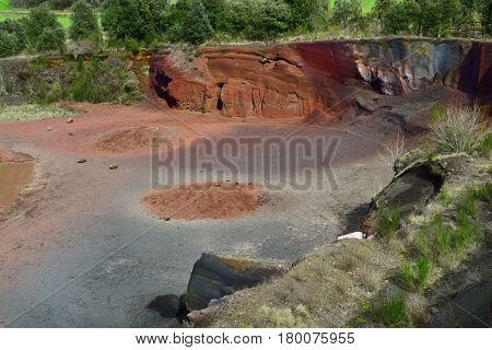 a view of the crater of the Croscat Volcano in the Garrotxa Volcanic Zone Natural Park, in Olot, Spain