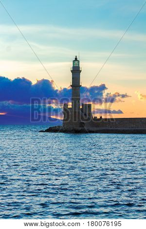 lighthouse of Chania with Aegan sea at sunset, Crete, Greece