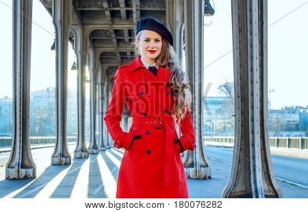 Young Woman On Pont De Bir-hakeim Bridge In Paris