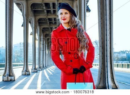 Woman On Pont De Bir-hakeim Bridge Looking Into Distance