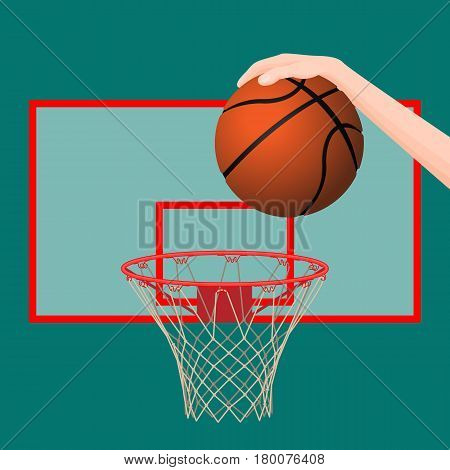 Human hand throwing orange ball in basketball hoop in green board marked with red lines colorful picture. Vector illustration of playing game concept. Healthy and sporty lifestyle template icon