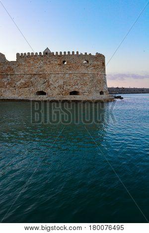 Heraklion old venetian bay with venetian fortress, Crete, Greece