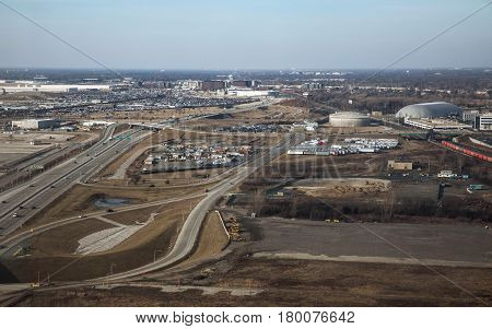 CHICAGO USA - FEBRUARY 10 2017: Landing at the airport at O'Hare Airport in Chicago. USA