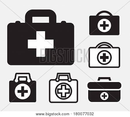 Doctors bag with cross medical suitcase outline medicine handbag illustration. First aid kit sign. Simple black icon set isolated