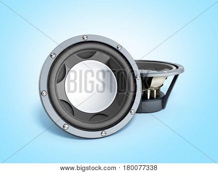 black loudspeakers 3d render on blue background