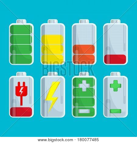 Battery collection with steps of charge isolated on blue. Vector colorful cute poster in flat design of elements with red, orange, yellow, green wide lines and marks showing the degree of charging