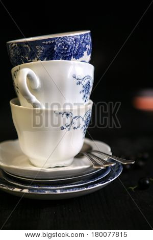 still life with the vintage cobalt china