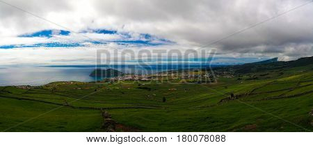 Landscape with Monte Brasil volcano and Angra do Heroismo in Terceira island Azores Portugal