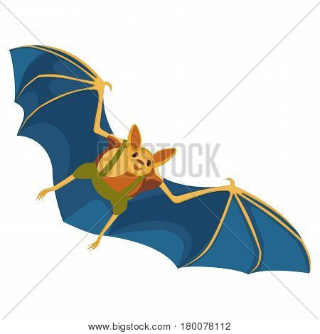 Yellow bat with blue wings hand drawn pattern on white background. Flying flittermouse dressed in green pants with suspenders and brown slip-on. Vector illustration of cheiroptera mammal
