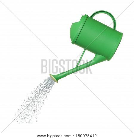 water pours from a watering can on white background