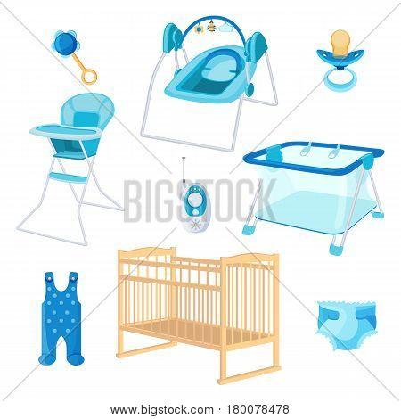 Bedroom furniture for newborn boy on white background. Vector illustration of latex teat, radio nanny, play arena, chair for babies, ringing rattle, disposable diaper, blue sliders and beige crib.