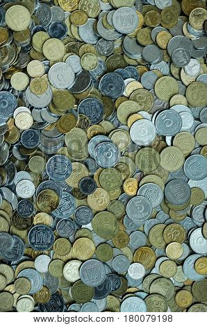 Tob view background of scattered of Ukrainian money coins