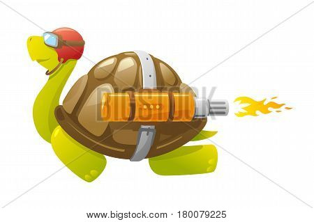 One cartoon turtle flying with jet thrust, speed leader conceptual, isolated