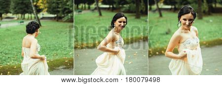 fashion portrait of young couple with nice boquet