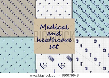 Healthcare and medicine set. Six vector doodle seamless patterns with thermometer, heart, stethoscope, cross, test tubes and pills. Medical hand drawn icons on checkered background.