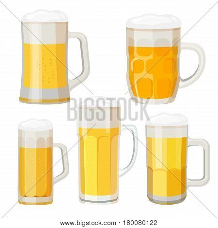 Collection of beer mugs with handles isolated on white. Glass transparent cups with foam, set of different vessels with fresh beer light alcohol beverage vector illustration