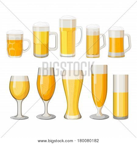 Collection of beer mugs with light alcohol beverage isolated on white. Glass transparent cups with foam, set of different vessels with fresh beer with handles and in long glasses vector illustration