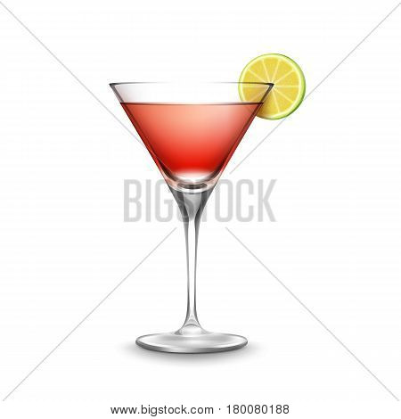 Vector glass of Cosmopolitan cocktail garnished with slice of lime isolated on white background
