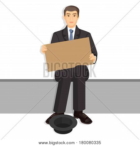 Beggar in expensive suit with empty billboards begging on bench, vessel for gathering money near legs. Homeless unemployment male with placard ask for donations vector illustration in cartoon style