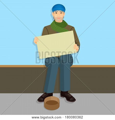 Beggar in casual cloth with empty billboards begging on bench, vessel for gathering money near legs. Homeless unemployment male with placard ask for donations vector illustration in cartoon style