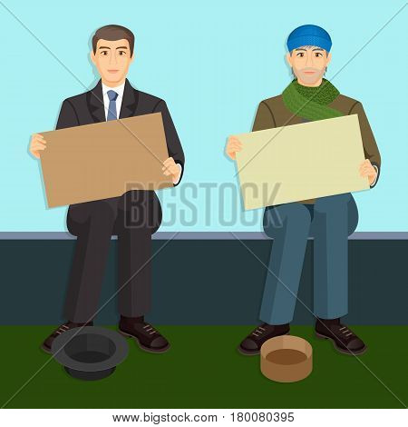 Beggars with empty billboards begging on bench with hats for money. Homeless unemployment people with placard gather donations vector illustration in cartoon style design