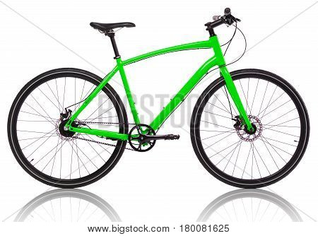 Green bicycle isolated on a white background