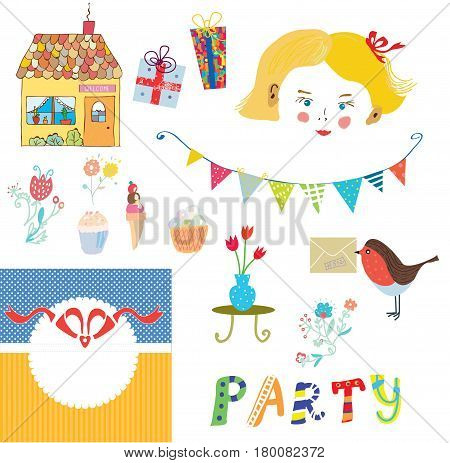 Party elements for the kids with girl face - vector illustration