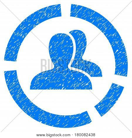 Grunge Demography Diagram rubber seal stamp watermark. Icon symbol with grunge design and dust texture. Unclean vector blue sign.