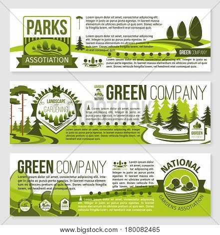 Landscaping and landscape architecture banner template set. City eco park, landscaping gardening and lawn care service company flyer with nature landscape of green tree, leaf, grass and text layouts