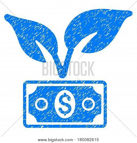 Grunge Eco Startup Gain rubber seal stamp watermark. Icon symbol with grunge design and scratched texture. Unclean vector blue emblem.