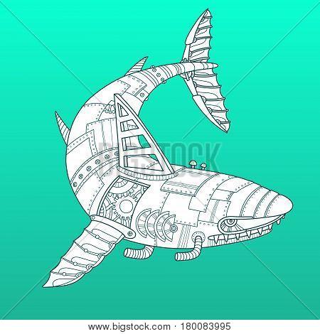 Shark robot. Steam punk style. Color fashion vector illustration