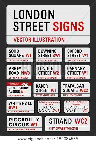 APRIL 13, 2015: A vector illustration of the most famous London streets signs