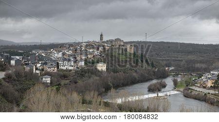 Wide view of winter in Puebla de Sanabria with Tera river, Castilla y Leon, Spain