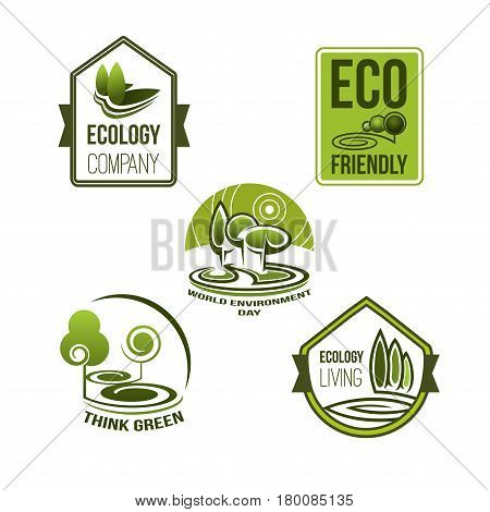 Eco business and green living icon set. Green badges with nature views, tree and leaf for eco friendly company emblem, think green concept and world environment day themes design