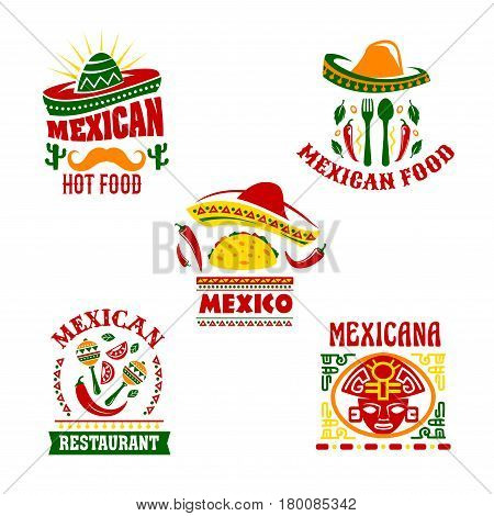 Mexican fast food restaurant emblem set. Mexican cuisine taco and chilli pepper with sombrero hat, maracas, cactus, fork and spoon symbol decorated with spicy herbs and traditional mexican ornament