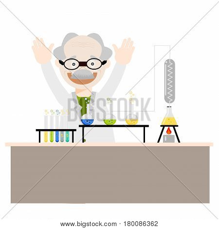 Cartoon chemistry concept with chemistry old man. Chemistry laboratory. The old man studying and working in chemistry lab. Isolated chemistry.