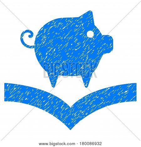 Grunge Pig Knowledge rubber seal stamp watermark. Icon symbol with grunge design and dirty texture. Unclean vector blue sticker.