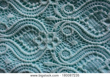 Close up of sky blue lace fabric