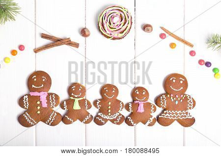 Family gingerbread men. Christmas gingerbread cookies. Top view.