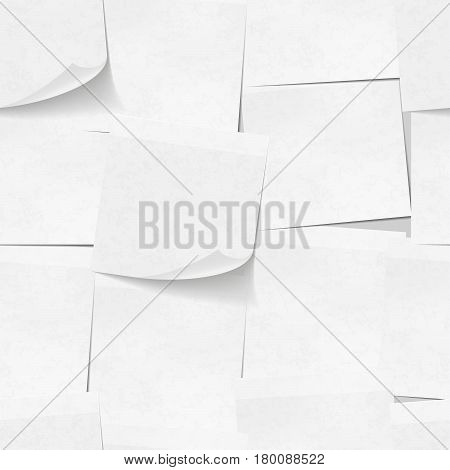 A lot of realistic white sticky notes seamless pattern