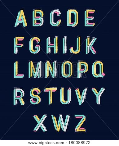Memphis style letters. Impossible shape font. Colored letters in the style of the 80s. Set of vector letters constructed on the basis of the isometric view. Modern style trends 80. Vector.