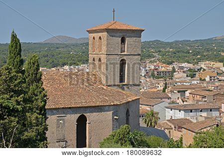 A cathedral in Arta old town, Mallorca with a view to the village and surrounding area