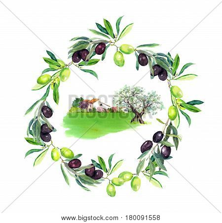 Olives branches, olive tree and rural provencal farm house in Provence, France. Round wreath. Watercolor