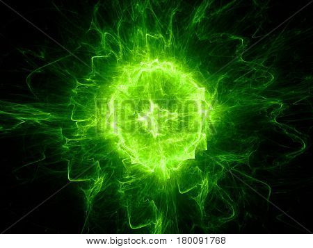 Green glowing fireball lightning computer generated abstract background 3D rendering