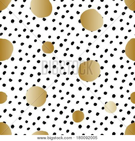 Hand drawn seamless repeat pattern with round shapes in golden and black dots texture on white background. Modern and original textile wrapping paper wall art design.