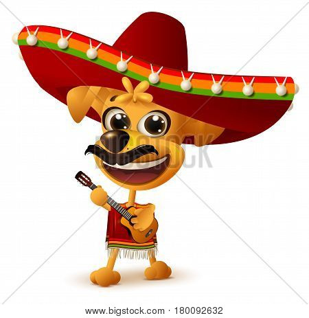 Mexican dog in sombrero plays guitar. Isolated on white vector illustration